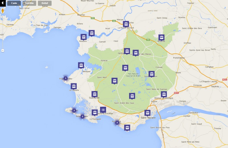 Carte interactive de la Destination