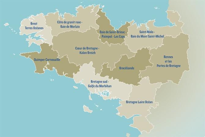 carte destinations touristiques de bretagne