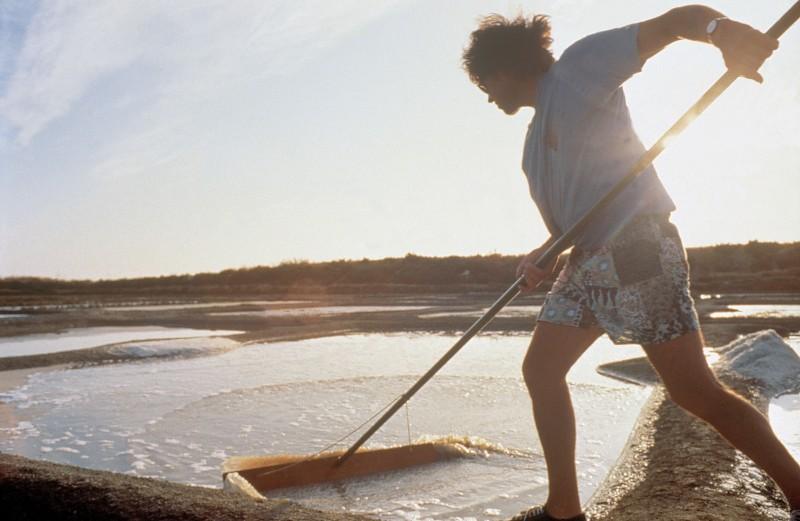 Paludier au travail dans les marais salants de Guérande