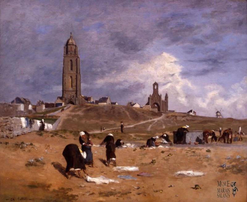Renoux _Les lavandières dans les dunes de Batz_1870