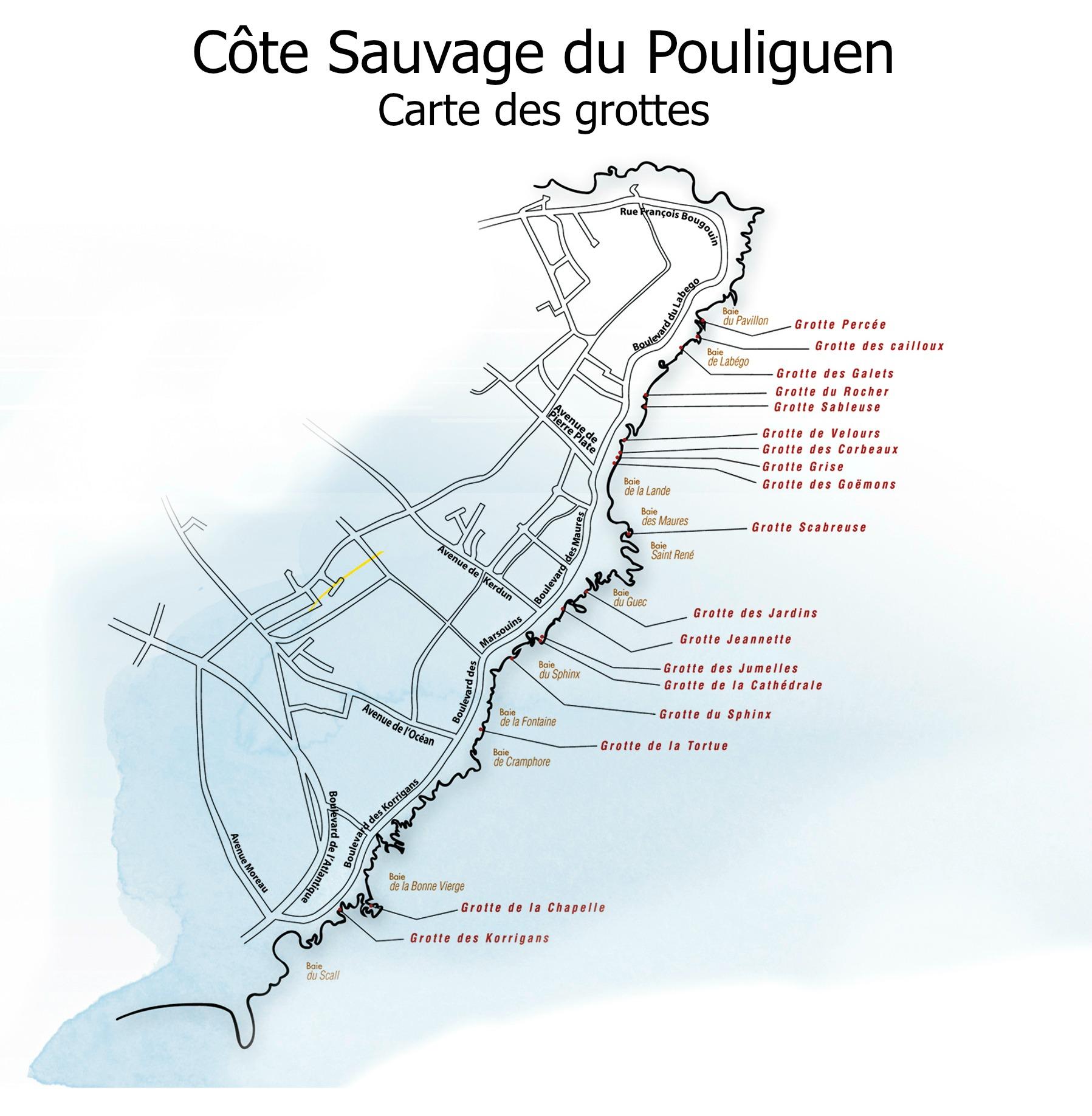 Télécharger la carte des grottes du Pouliguen