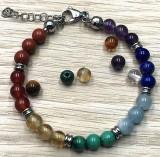 Bracelet 7 chakras et perles - Meirea - Guérande