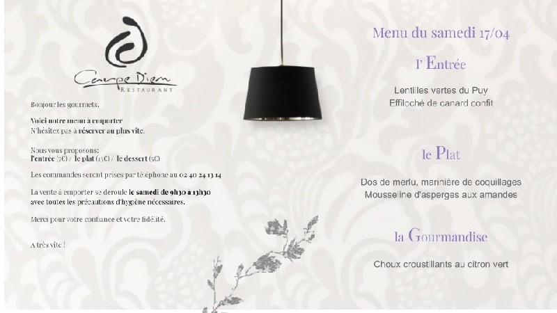 Menu du samedi 17 avril 2021 - Restaurant le Carpe Diem La Baule