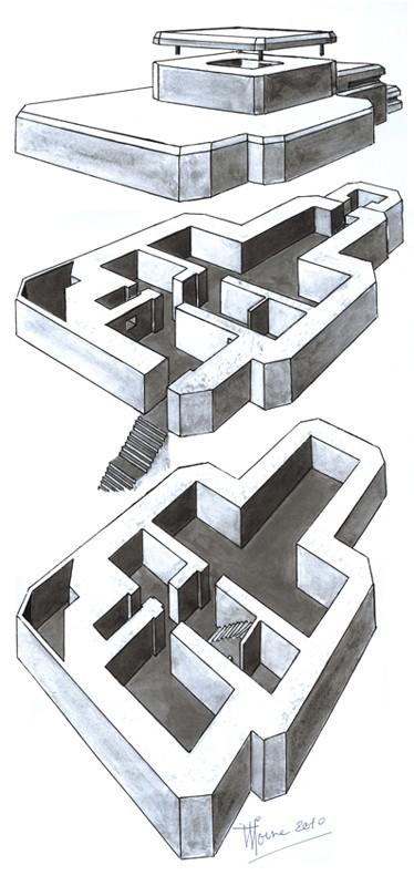Musée du Grand Blockhaus à Batz-sur-Mer : dessin du blockhaus