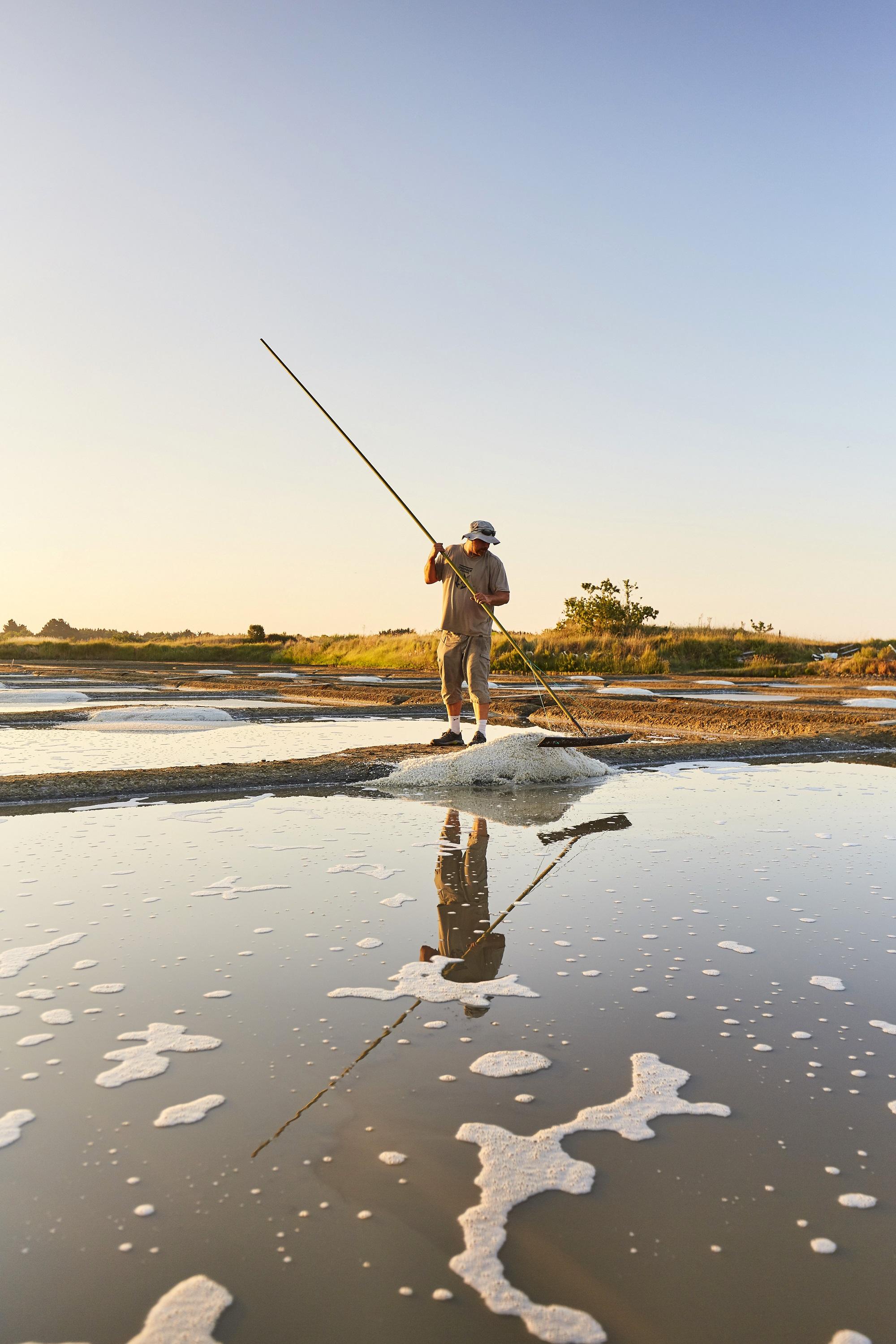 Paludier dans les marais salants de Guérande - Alexandre Lamoureux