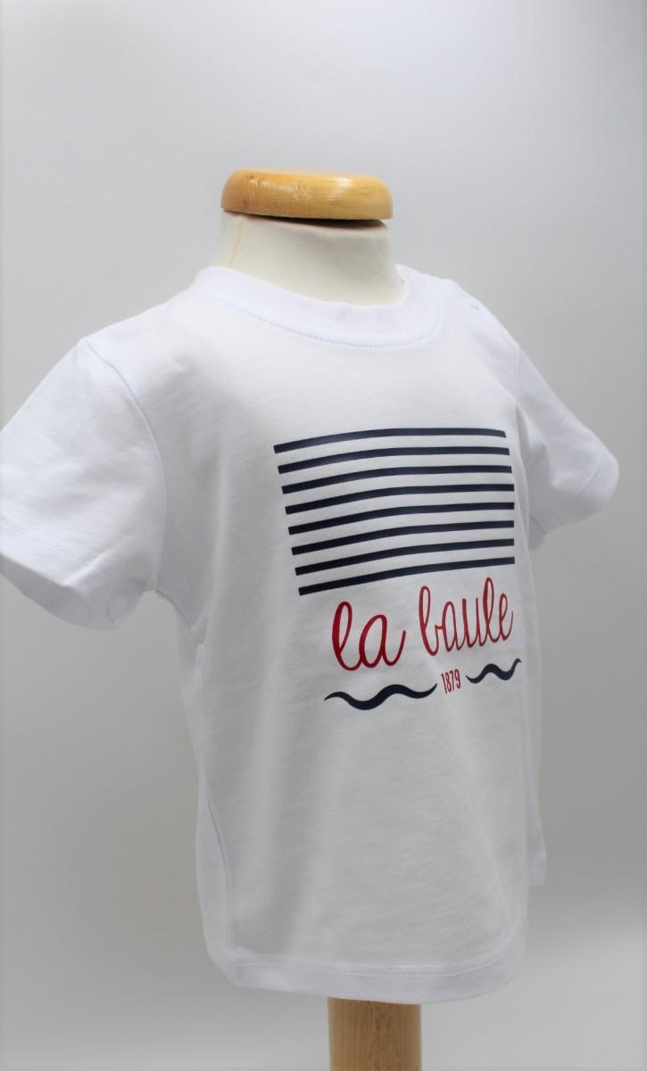 Boutique en ligne - T-shirt Enfant Marinière blanc la baule - Office de tourisme La Baule Presqu'île de Guérande