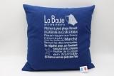 Coussin phrases La Baule 40*40 cm bleu marine