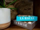 Petite caisse en bois La Baule - bleu turquoise et taupe