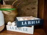Petite caisse en bois La Baule - gris foncé et lin