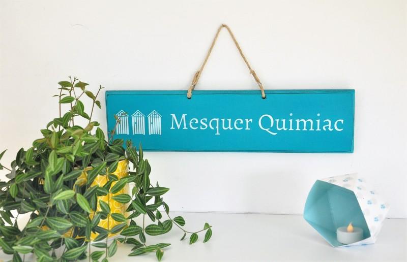 Boutique en ligne - Pancarte en bois cabines Mesquer-Quimiac turquoise - Office de Tourisme La Baule presqu'île de Guérande