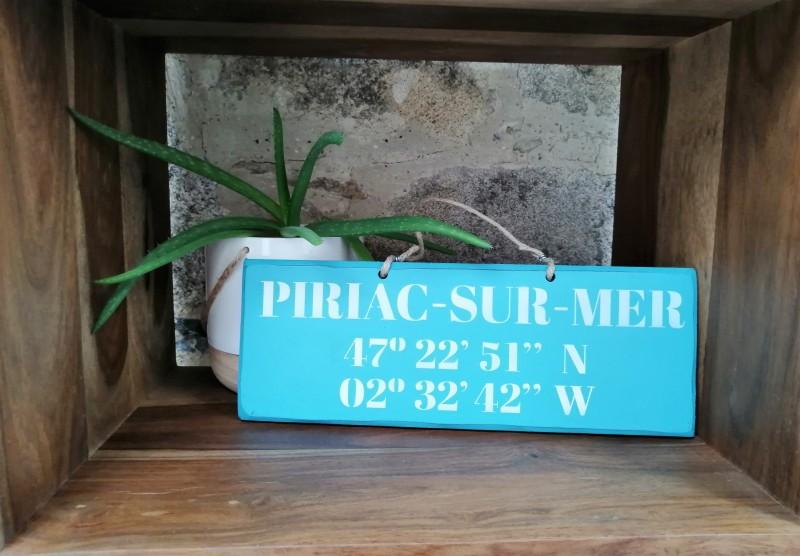 Boutique en ligne - pancarte Latitude Piriac-sur-mer turquoise - Office de Tourisme La Baule Presqu'île de Guérande
