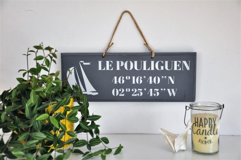 Boutique en ligne - pancarte Le Pouliguen Latitude gris foncé - Office de Tourisme La Baule Presqu'île de Guérande