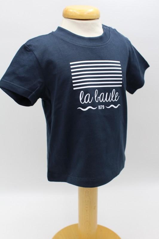 Boutique en ligne - T-shirt Enfant Marinière bleu la baule - Office de tourisme La Baule Presqu'île de Guérande
