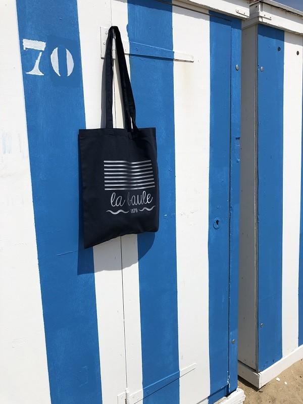Boutique en ligne - Tote bag Marinière La Baule - Bleu et argent - Office de tourisme La Baule presqu'île de Guérande
