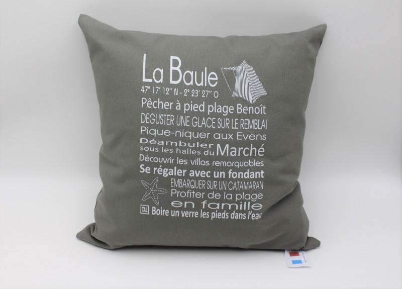 Coussin phrases La Baule 40*40 cm gris