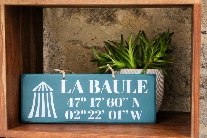 Pancarte Latitude La Baule - bleu canard
