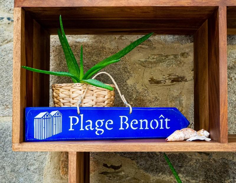 Pancarte plage Benoit - bleu outremer