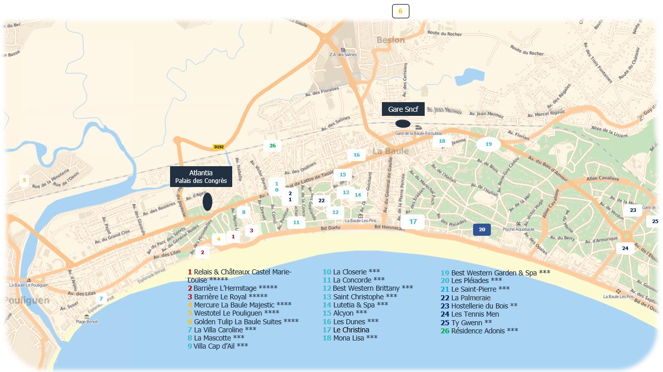 Plan des hôtels de La Baule